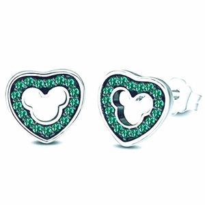 18k goldGreen Emerald Mickey Mouse Heart Earrings